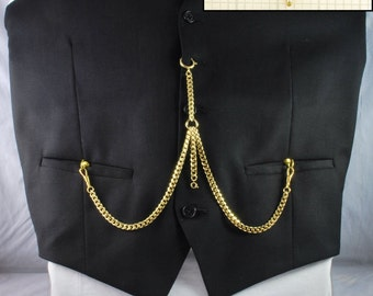 Double Albert-style pocket watch chain with a cuff-detail t-bar finding, customizable in a variety of lengths, link types, & materials