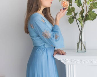 Bridal Robe from my Paris Inspirations Collection - Statement Sleeves in Dusty Blue