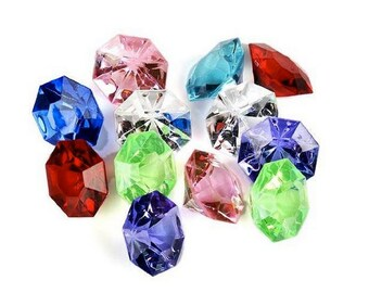 Package of 36-Multi Colored 25 Carat Acrylic Diamonds For Weddings, Parties -  Wedding Supplies Unique wedding ideas reception theme ideas