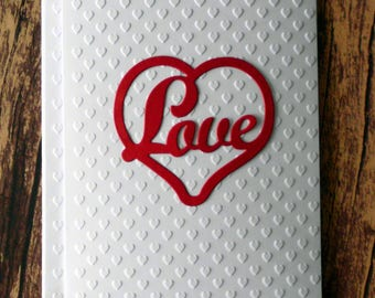 Valentine's Day Cards, Red Love Heart Die Card, White Embossed Heart Note Cards, Blank Greeting Cards, Love Stationery, Anniversary Card