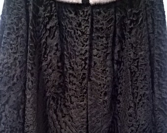 Gorgeous Black Persian Lamb Fur Jacket with Silver Mink Fur Collar - Size M  - FREE SHIPPING