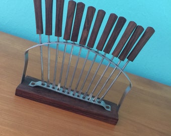 Vintage 1960s Danish Mid Century Modern Teak and Stainless Appetizer Forks With Stand