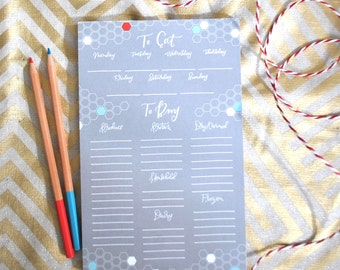 grocery list and meal planner notepad // organizational notepad // shopping list notepad // for her // stocking stuffer // christmas gift