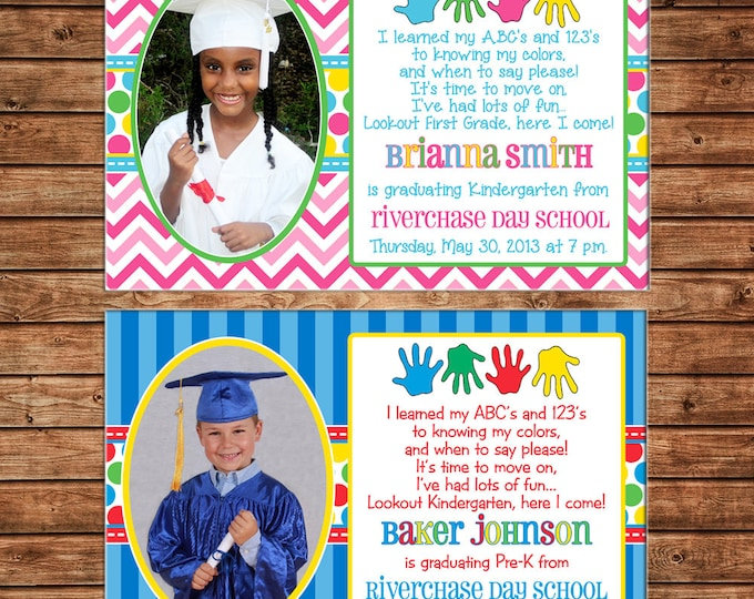 Boy or Girl Photo Invitation Preschool Kindergarten Graduation  - Can personalize colors /wording - Printable File or Printed Cards