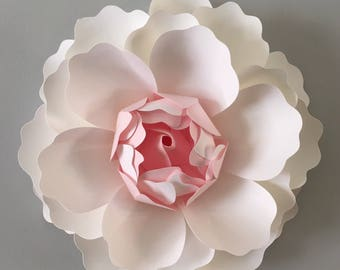 Extra large 3D Wall Peony flower  - white and baby pink Peony/ wall decor/ nursery decor/ wedding flower/