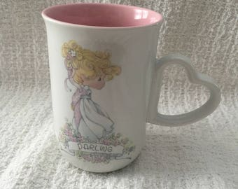 Precious Moments Darling Mug 1990, Darling Mug, Enesco Precious Moments, Heart Handle, Pink Interior, Enesco Mugs, Samuel J Butcher, Korea