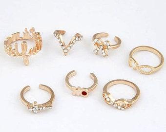 Set of 7 gold midi rings, above knuckle rings, stacking rings, midi mid rings, finger rings, boho rings