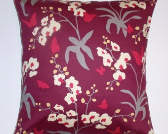 Handmade Throw Pillow Cover, Elegant Burgundy Accent Pillow Cover, Mulberry Orchid Cushion Cover, Decorative Floral Butterfly Pillow Cover
