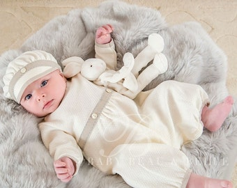 Austin Baby Boy Baptism Outfit, Boy Christening Outfit, Ivory Baby Romper