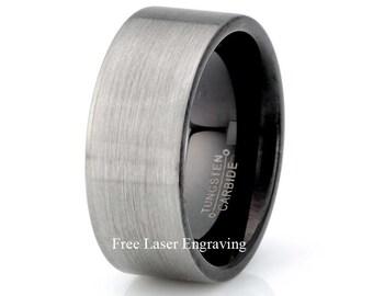 Mens Wedding Band, Black Brushed Tungsten Wedding Ring, 9mm Mens  Band, Personalized mens Wedding Ring