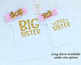 Matching Sibling Outfits, Big Sister Little Sister Outfits, Big Sister Outfit, Little Sister Outfit, Promoted Big Sister Shirt FS30