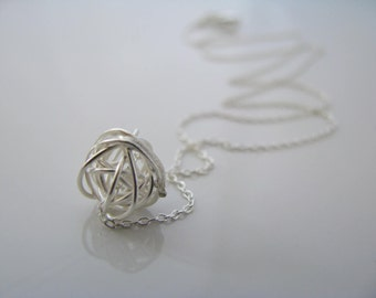 Wire Ball Yarn Ball Love Knot Necklace Sterling Silver