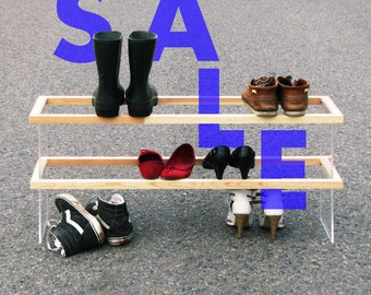 ON SALE! FLOAT 2F shoe rack handmade from solid wood / acrylic glass / blackened steel / natural oil