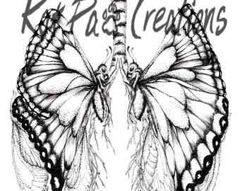 "Butterfly Lungs, Human Anatomy, Fine Art Print, 8.5""x11"", Ink Drawing Illustration Wall Art, Gift Doctors Nurses, Transplant Symbol, Medical"