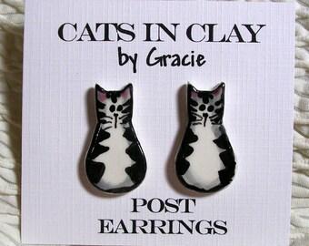 Striped Tabby Cat Post Pottery Earrings Stud Earrings Handmade In Kiln Fired Clay by Gracie