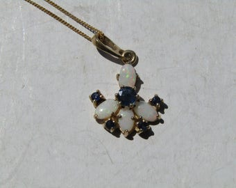 Sapphire Opal Gold Necklace