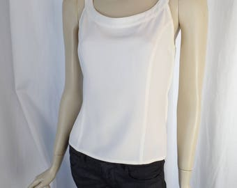 vintage STATE 0F CLAUDE M0NTANA  ivory viscose jersy tank top/ side zip fitted silhouette: size IT42= US6-8