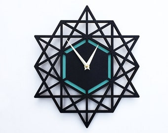 Large Wall Clock, Minimal Style, Modern Wall clock, wall accent, geometric clock, Gift for Him, sacred geometry