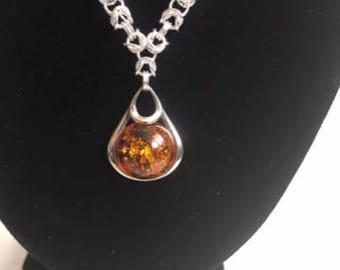 Amber pendant with sterling silver Byzantine chainmaille weave necklace