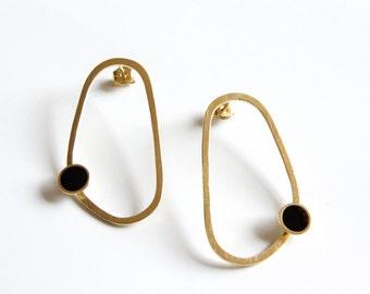 Statement earrings, 24K Gold Plated Sterling Silver Abstract Hoops, Organic shaped hoop earrings, Black Dot Drop Earrings, Ready to Ship