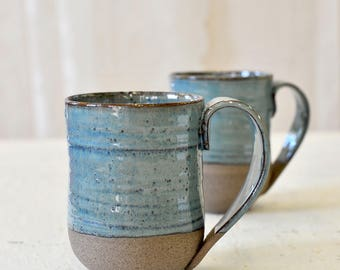 Ceramic mugs set of 2, Large ceramic mugs set, BLUE MUGS, Big ceramic cups, Pottery mugs set, handmade mugs set, rustic mugs, Christmas gift