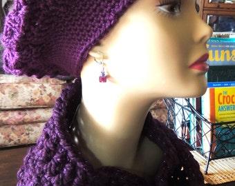 Plum Crocheted Beret