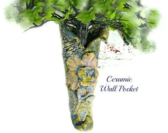ceramic wall pocket,wall sconce,wall vase,wall hanging vase, ceramic flower vase,  # 48
