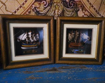 Pair of Ship Miniatures in Shadowbox Displays