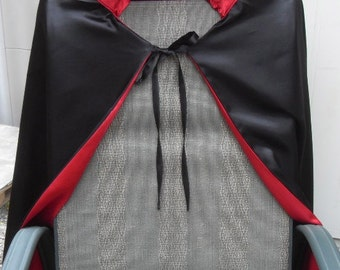 Count Dracula, Royalty Cape Black satin with Red Satin Lining, one size-reversible