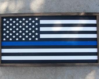 "Thin Blue Line American Flag - Police Flag - American Flag - Law Enforcement - Wood Flag - Thin Blue Line - Wood Flag Signs - (25"" x 13"")"