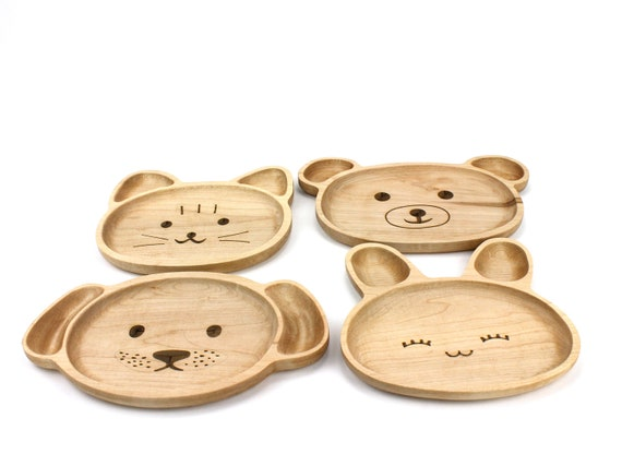 Wooden Child Plate, Kids Plate, Kids Snack Dish, Baby First Plate, Animal Face Plate,