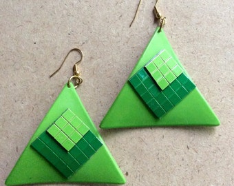 SALE Mod Lime Green Triangle Go-Go Girl Pierced Earrings