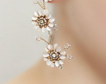 Triple Flower Statement Long Dangle Post Bridal Earrings