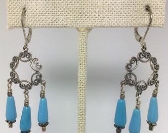lacy silver chandelier earrings