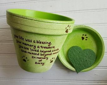 Personnalisé Memorial pour animaux de compagnie - chien Memorial cadeau - chat Memorial cadeau - sympathie pour animaux de compagnie - peint fleur Pot - carte de rocaille - Animal sympathie