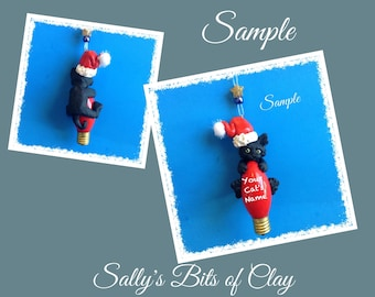 Black Santa Kitty Cat green eyes Christmas Holidays Light Bulb Ornament Sally's Bits of Clay PERSONALIZED FREE with cat's name