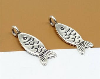 4 Karen Hill Tribe Silver Fish Charms, Higher Silver Content than Sterling Silver Fish Charms - TR849