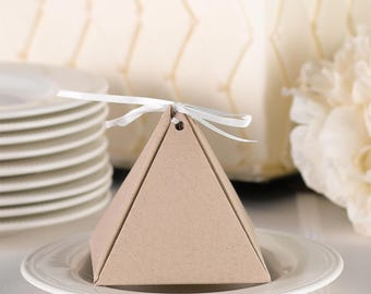 Favor Boxes / Kraft Pyramid Favor Boxes with Ribbon / Package of 25 Kraft Favor Boxes with 25 White Ribbons