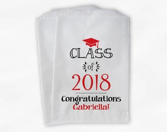Class of 2018 Personalized Treat Bags - Set of 25 Black & Red High School Graduation Party Custom Favor Bags in School Colors (0214)