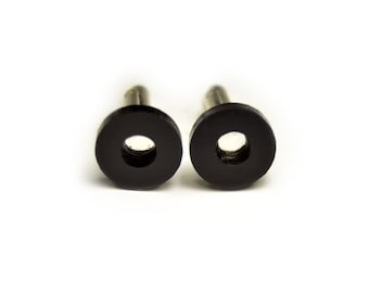 Minimal Black round with hole cufflinks glossy gift for him groomsman
