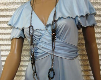 Vintage Long Gown/Dress, Pastel Blue, V-Neck, Ruffled Collar, Butterfly Sleeves, Wrapped Ties, Union Made, Figure-Flattering and Feminine!