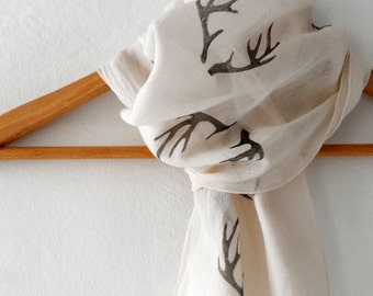 Antler Scarf , woodland cotton yemeni  scarf, hand stamped skinny scarf, fall fashion