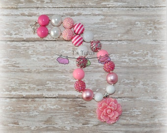 Pink Rhinestone Flower Valentines Childrens Chunky Necklace Pink Hot Pink White Chunky Necklace Bead Necklace Girls Necklace Pearl All Ages