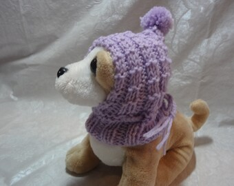 Hand knitted XXS Chihuahua Tiny Dog Mini Dog  Doggie Cowl Hoodie Hat  With Tie Light Purple