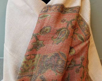 Beige pashmina, beige pashmina scarf, beige wool shawl, beige wool scarf, gifts for her, elephant shawl, elephant scarf, bridesmaid shawl