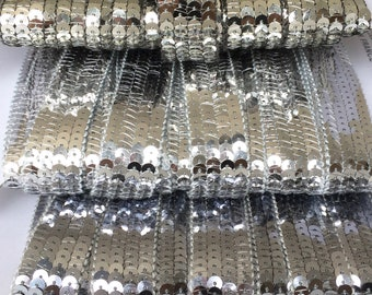 Promotion set of 3 4.5 M sequin ribbons of each, with round silver Glitters, in 4 rows for creating bags and accessories