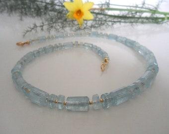 Aquamarine & Gold, gemstone necklace, unique
