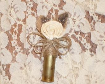 Rustic Shotgun Shell Boutonniere, Gold