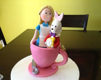 Clay Alice in Wonderland With Rabbit in a Teacup Figurine Cake Topper/Favor