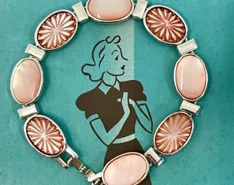 Monet Blush Alabaster Mother of Pearl Link Bracelet